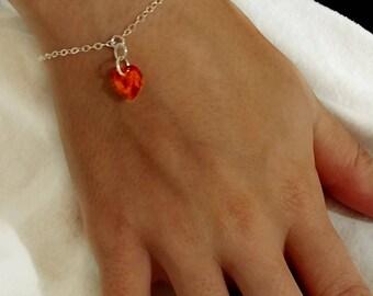 Swarovski Astral Pink Sterling Silver Heart Bracelet