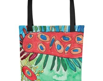 Good Bacteria - Amazingly beautiful full color tote bag with black handle featuring children's donated artwork.