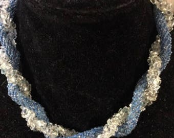 Vintage Twisted Blue and Clear Beaded Necklace