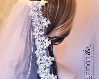 Wedding Veil with Crystals and Pearls / Elbow Bridal Veil / Bridal Veil with Crystals / Beaded Elbow Wedding Veil / Elbow Length Bridal Veil