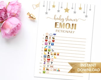 Emoji Pictionary baby shower game | Twinkle twinkle little star | Printable emoji shower game | Gold stars emoji game gender neutral