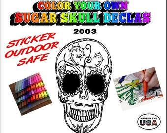 Sugar Skull Decal | Dia de los Muertos Sticker | Day of the Dead Decal Sticker | Sugar Skull Sticker | Coloring | Window Decal Sticke