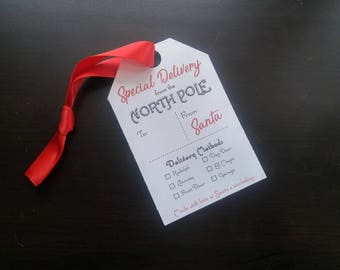 LARGE North Pole Christmas Gift Tags 4x6 | Santa Tags | Special Delivery | Printable Gift Tags |