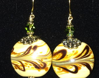 Chinese Glass and Swarovski Crystal Earrings