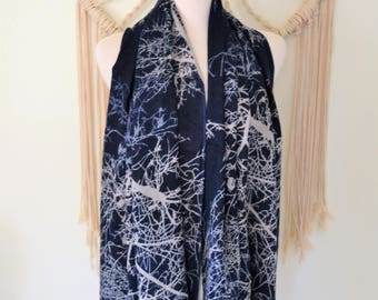 Tree of Life Navy Cashmere Wool Blend Scarf, Cashmere Shawl, Cashmere Wrap, Women's Fashion Scarves, Cashmere Scarf