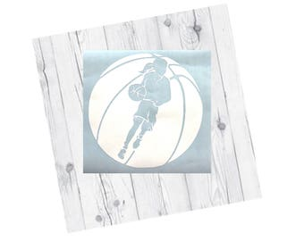 Basketball Vinyl Decal, Girl in Basketball, Car Decal, Sports, Sport Decal, Vinyl Decal