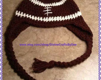 Crochet Football Beanie Hat with Tails - Adult