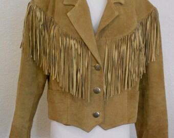 Vintage Pioneer Wear Suede Leather Fringe Jacket Lined Size 14 Western Coat Rodeo