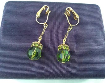 Vintage green crystal cut bead earrings