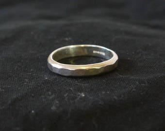 Hammered silver ring Hallmarked Size V
