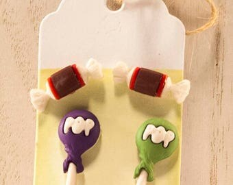 Candy Cravings - Sweet Kawaii Candy Lollipop Earrings