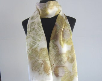 Natural silk scarf with ecoprint