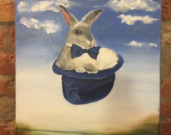 Original Acrylic  Painting ,Weightlessness, 40 x 50, Painting on Canvas/ Rabbit/hat