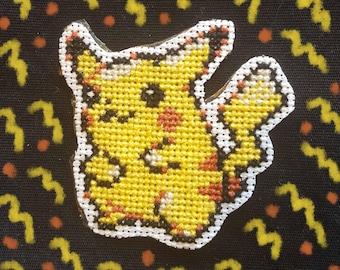Pikachu cross stitch patch