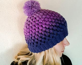 Purple beanie, Ombre beanie, Crochet purple hat, Crochet beanie with pom pom, women beanie hat, vegan beanie.