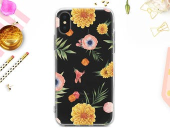 iPhone 8 Case iPhone X Case iPhone 7 Case Floral Clear Rubber Case iPhone 7 Plus Clear Case iPhone SE Case Samsung S8 Plus Case BD1023