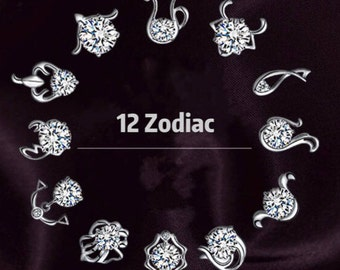 Cubic, Zodiac 12 signs,Silver, Necklace, Astrological sign, Birthday,Gift,Jewelry,12 constellation,diamond,Personalized