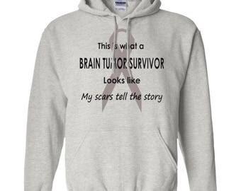 Brain Tumor, Tumour Survivor The Story Hoodie Unisex Mens, Ladies, Womens, Tumour, Fighter, Awareness, Sweatshirt, Hooded