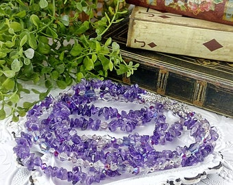 Handmade Amethyst Chip & Crystal Triple Strand Necklace