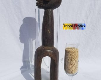 TRIBAL EXOTICS : PREMIUM Authentic fine tribal African Art - Waja Shoulder Wood Mask Figure Sculpture Statue