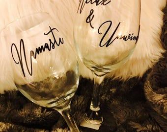 Wine Glass Set - Namaste, Relax & Unwind
