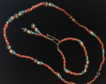 Coral and sterling silver Berber set