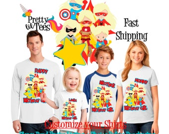 SUPERHERO Birthday Girl Theme Family WHITE Shirts For the Entire Family Mom Dad Brother and More T-shirts Long/ Short sleeve supergirl