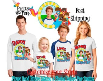 SUPERHERO with your child's PICTURE Birthday Boy Theme Family WHITE Shirts For the Entire Family Mom Dad Brother and More T-shirt superboy