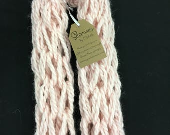 Light Pink Buttercream Arm-Knit Scarf