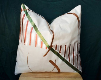 Geometric Nature | Hand Painted Muslin Cover | Decorative Pillow Sham | 16 x 16 | Made to Order