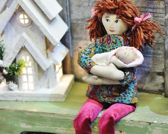 Brown hair HandMade Fabric Velvet Tilda Christmas Gift Girl Hand Painted Craft Baby Room Rag Doll Personalized