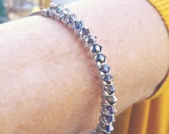 Wire Wrapped Heliotrope Swarovski Crystal Bangle