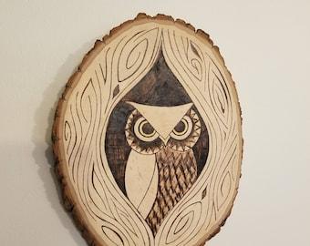 Wood burned owl wall art