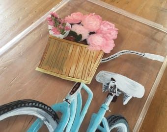 Floral, Bicycle, Clear, Hand-painted iPad Mini Case