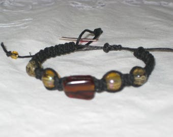 Natural Black Hemp with Amber and Hazel Glass Beads