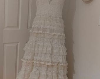 boho lace tiered wedding dress new