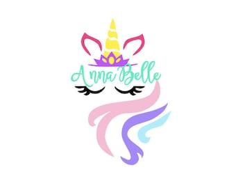 Happy Unicorn Monogram Decal, Unicorn Decal, Unicorn Floral Decal, Monogram Sticker, Tumbler Decal, Rainbow Unicorn Face Decal
