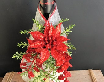 Poinsettia Wine Wrap