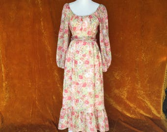 Vintage 1970s, Bell Sleeved, Southern Belle, Floral Print, Long Women's Dress