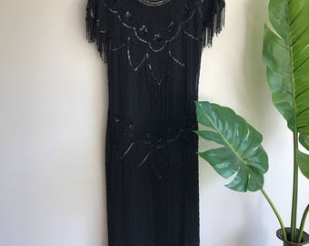 Vintage Black Beaded Flapper Style 80's Silk Evening Dress Size 8