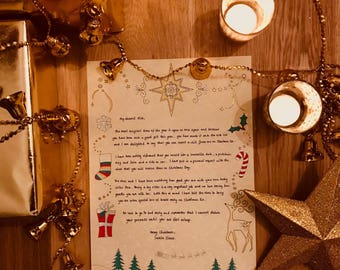 handwritten letter from santa etsy