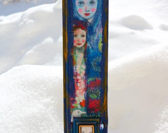 Handmade wooden thermometer ''blue sisters''