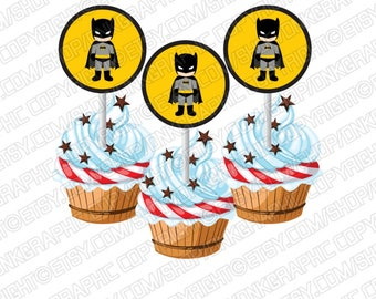 Batman Cupcake Toppers Birthday Party
