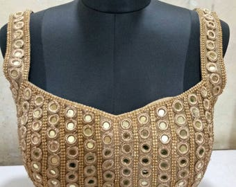Golden Mirrorwork Saree Blouse