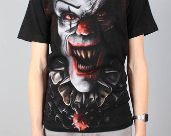 Vintage Circus of Horror shirt - all over print - Evil Clown rock T-shirt - 90s 1990s Tee - Pennywise IT - Spiral black rock Tshirt - Size S
