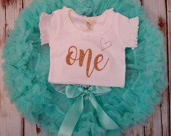 Aqua and Gold Glittery Birthday Pettiskirt Onesie and Skirt Set