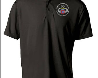 82nd Airborne Division w/ Ranger Tab Embroidered Moisture Wick Polo Shirt -3405