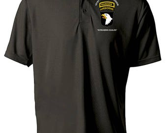 101st Airborne Division w/ Ranger Tab  Embroidered Moisture Wick Polo Shirt -3092