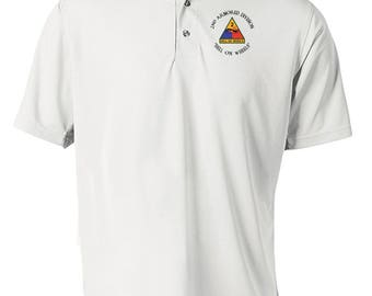 2nd Armored Division Embroidered Moisture Wick Polo Shirt -3978