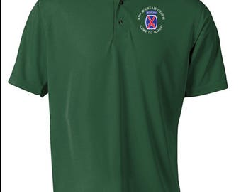10th Mountain Division Embroidered Moisture Wick Polo Shirt -3599
